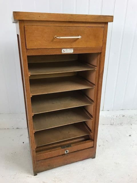 sold - Vintage  French Tambour Cabinet - a88